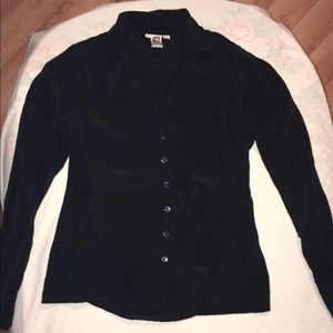 Anne Klein 100% Silk Fitted Blouse Women's Size 8